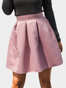 Pink Ruffle Elastic Waist Fashion Skirt
