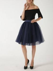 Navy Blue Patchwork Grenadine Pleated Sweet Short Skirt