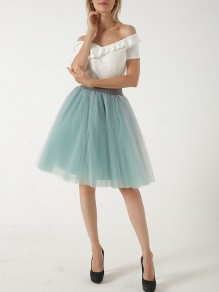 Light Green Patchwork Grenadine Pleated Tulle Tutu Sweet Short Skirt