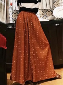 Orange Polka Dot Print Buttons Pleated Fashion Skirt