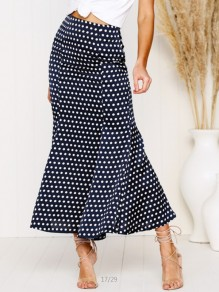Navy Blue Polka Dot Ruffle High Waisted Sweet Skirt