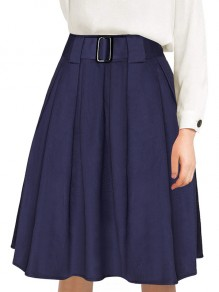 Navy Blue Draped Belt High Waist Elegant Skirt