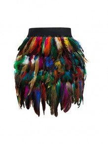 Colorful Feather Patchwork Irregular Tiered High Waisted Party Streetwear Clubwear Costumes Short Skirt