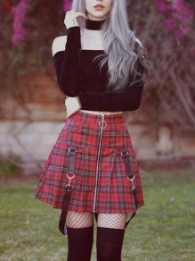Red-Black Plaid Zipper Belt High Waisted Cute Homecoming Check Print Short Skirt