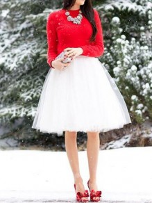 White Grenadine Draped High Waisted Fashion Skirt