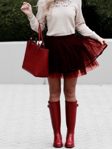 Wine Red Pleated Grenadine Sweet Homecoming Party Prom Short Tutu Tulle Skirt