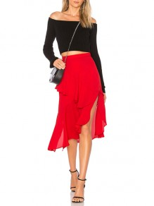 Red Cascading Ruffle Irregular Slit Side High Waisted Vintage Casual Fashion Midi Skirt