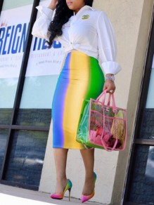 Yellow Striped Pattern Zipper Rianbow High Waisted Bodycon Elegant Midi Skirt