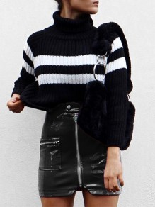 Black Patchwork Zipper Pockets PU Leather Fashion Skirt