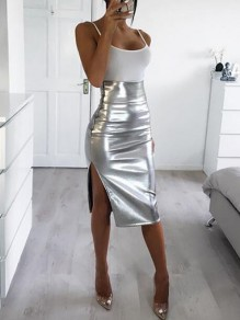 Silber Schlitz High Waist Metallic Bodycon Enges Schick Midirock Cocktailrock Party Damen Mode
