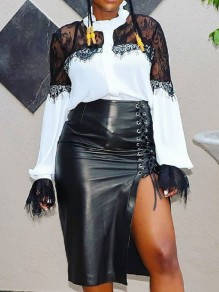 Black Lace-up Irregular High Waisted PU Leather Latex Vinly Party Clubwear Skirt