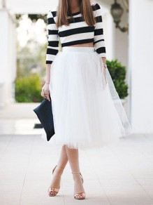 Womens White Puffy Tulle Skirt Tutu Skirt