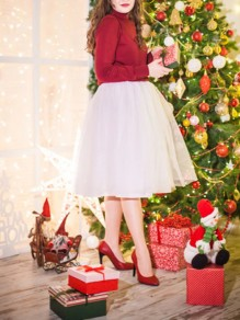 White Puffy Tulle Tutu Christmas Party Skirt