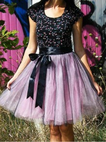 Pink-Black Patchwork Grenadine High Waisted Tulle Tutu Homecoming Party Cute Elegant Midi Skirt