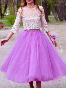 Purple Grenadine Pleated High Waisted Tulle Tutu Homecoming Party Cute Elegant Long Skirt