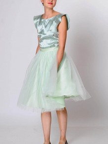 Light Grey Draped Grenadine High Waisted Elegant Skirt