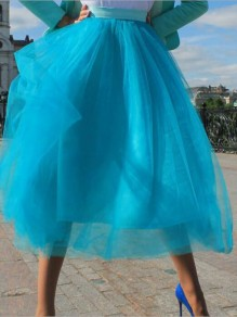 5d4ae0218e Blue Grenadine Pleated High Waisted Tulle Tutu Homecoming Party Elegant  Midi Skirt