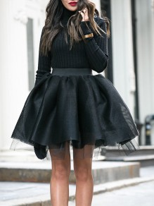 Black Patchwork Grenadine Pleated Tutu Homecoming Party Cute Elegant Mini Skirt