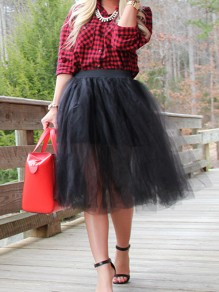 Black Patchwork Pleated Tutu Homecoming Party Cute Elegant Midi Skirt