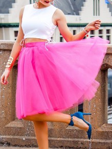 Rose Carmine Grenadine High Waisted Tulle Tutu Plus Size Homecoming Party Midi Skirt