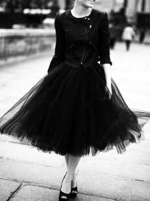 Black Cascading Grenadine Pleated High Waisted Elegant Homecoming Party Prom Fluffy Tulle Tutu Skirt