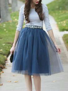 Navy Blue Patchwork Grenadine Pleated Plus Size High Waisted Tutu Cute Homecoming Party Skirt