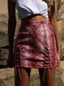 Red Snake Skin Pattern Drawstring Zipper High Waisted Fashion Cute Mini Skirt