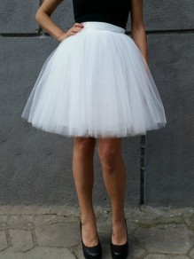 White Grenadine Pleated High Waisted Tulle Tutu Sweet Skirt