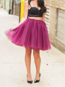 Purple Grenadine Pleated High Waisted Tulle Tutu Homecoming Party Cute Elegant Skirt