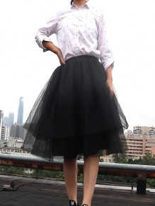 Black Patchwork Grenadine Pleated Plus Size High Waisted Tutu Cute Homecoming Party Skirt