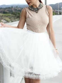 White Grenadine Pleated High Waisted Tutu Sweet Skirt