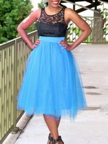 Lake Blue Grenadine Pleated High Waisted Tulle Tutu Homecoming Party Cute Elegant Skirt