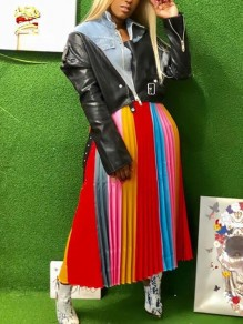 Red Striped Pleated Rainbow High Waisted Christmas Elegant Long Skirt