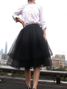 Black Grenadine Pleated Plus Size Fluffy Puffy Tulle High Waisted Homecoming Party Fashion Tutu Midi Skirt
