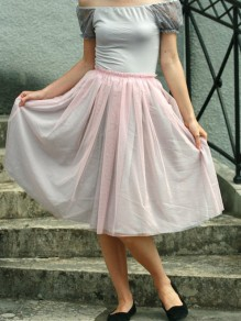 Pink Grenadine Draped High Waisted Sweet Tutu Skirt