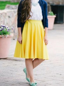 Yellow Draped High Waisted Fashion Party Skate Skirt
