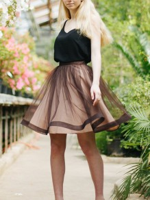Khaki Grenadine Pleated Fluffy Puffy Tulle Tutu High Waisted Cute Homecoming Party Skirt