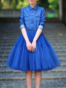 Blue Grenadine High Waisted Fluffy Puffy Tulle Elegant Skirt