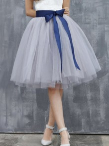 Grey Grenadine Sashes Bow High Waisted Fluffy Puffy Tulle Skirt