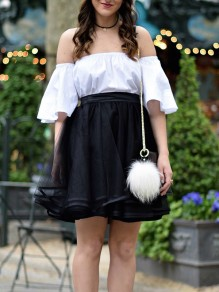 Black Patchwork Grenadine Pleated Fluffy Puffy Tulle Homecoming Party Skirt