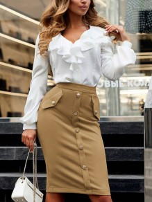 Khaki Single Breasted Buttons High Waisted Elegant Skirt