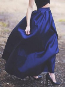 Royal Blue Pleated High Waisted Skater Flare Party Long Skirt
