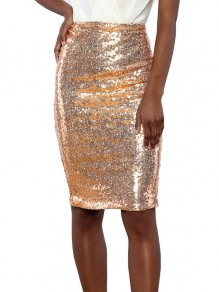 Golden Sequin High Waisted Knee Length Fashion Skirt