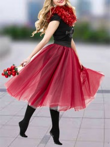Red Patchwork Grenadine Pleated Fluffy Puffy Tulle Homecoming Party Skirt