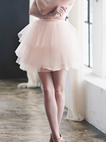 Pink Patchwork Grenadine Pleated Fluffy Puffy Cascading Tulle Homecoming Party Prom Mini Skirt