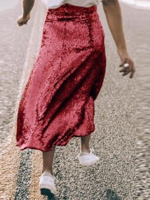 Red Sequin Glitter Draped High Waisted Sparkly Flare NYE Birthday Party Maxi Skirt