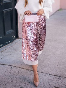Pink Patchwork Sequin Grenadine High Waisted Fashion Skirt