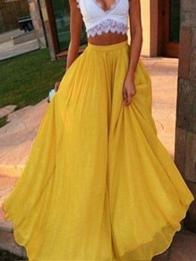 Mustard Yellow Draped Big Swing High Waisted Beach Boho Party Chiffon Flowy Casual Maxi Skirt
