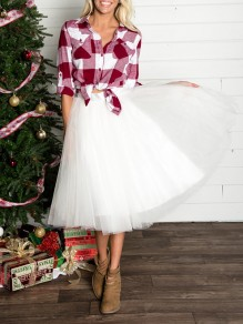White Grenadine Fluffy Puffy Tulle High Waisted New Year's Eve Homecoming Party Midi Skirt