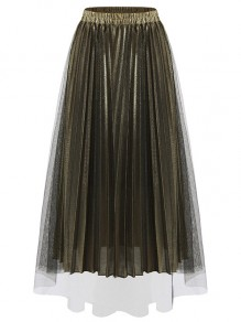 Golden Patchwork Grenadine Pleated High Waisted Party Skirt